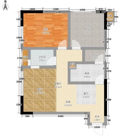 恺信时代天城1室1厅1卫1厨78.00㎡户型图