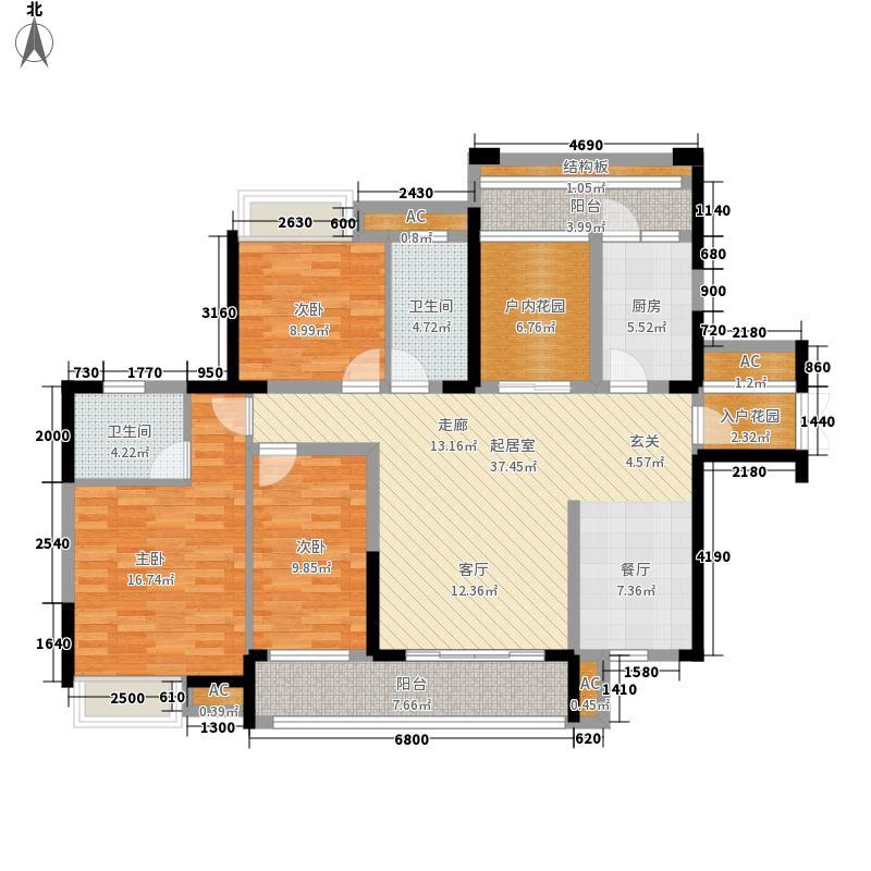 融科东南海二期137.00㎡一期中海1/2-c5户型3室2厅2卫1厨