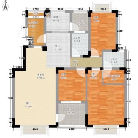 中兴渝景苑3室1厅2卫1厨114.00㎡户型图