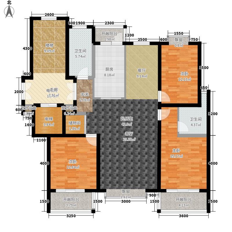 宝陆御园143.00㎡2#中户户型3室2厅