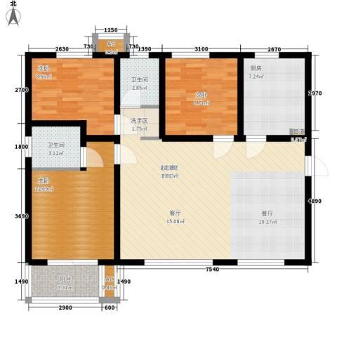 嘉园蓝湖九郡3室0厅2卫1厨121.00㎡户型图