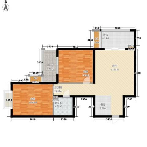 大洋时代国际2室0厅1卫1厨100.00㎡户型图