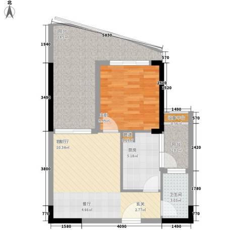凤凰水城御河湾1室1厅1卫1厨78.00㎡户型图