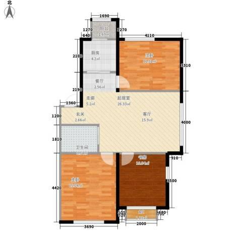 波尔的家3室0厅1卫1厨93.00㎡户型图