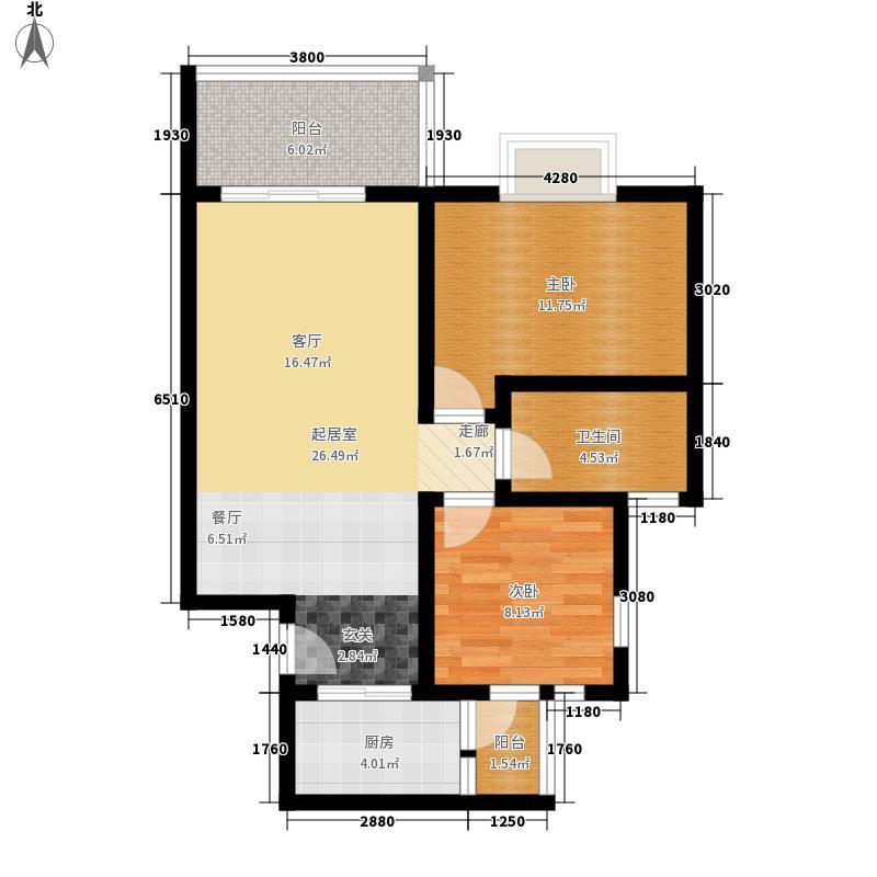 北湖印象75.99㎡3期F2型户型2室2厅1卫1厨