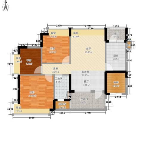 长沙恒大城3室0厅1卫1厨92.00㎡户型图