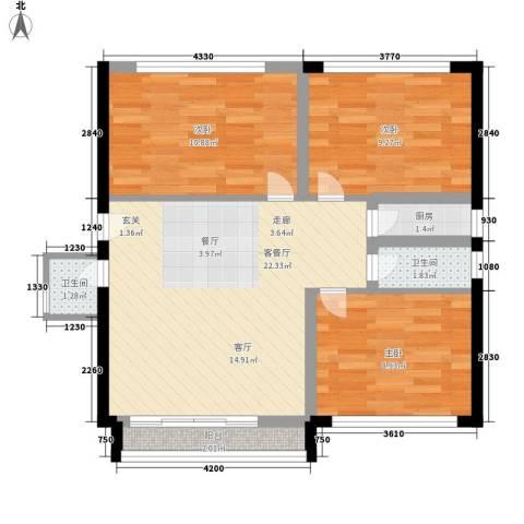 港湾路小区3室1厅2卫1厨67.00㎡户型图
