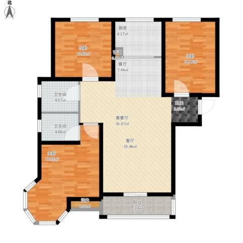 御江景城3室1厅2卫1厨151.00㎡户型图