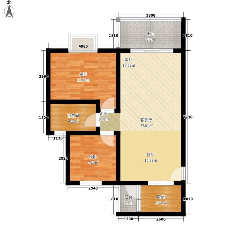 北湖印象78.18㎡3期F1型户型2室2厅1卫1厨