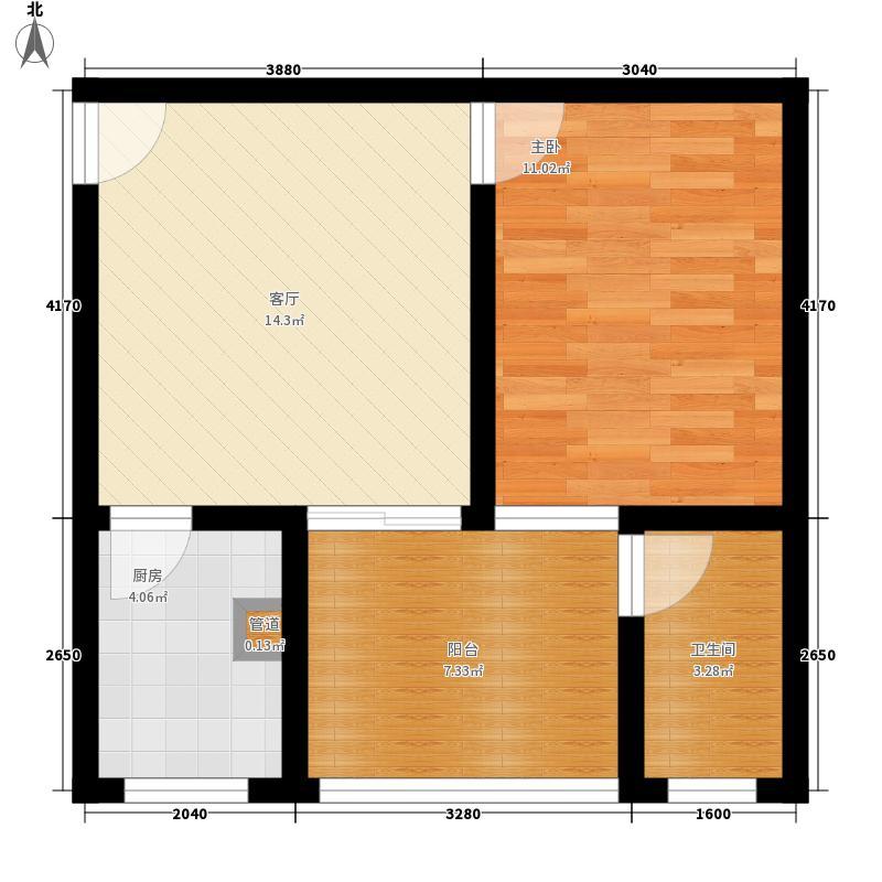 北湖印象47.68㎡二期H2型户型1室1厅1卫1厨