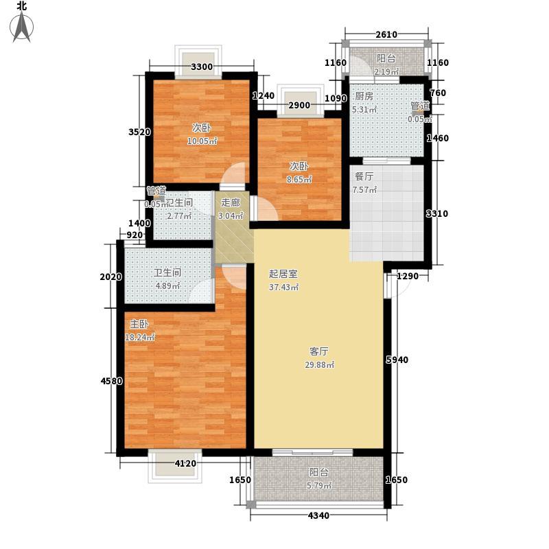 北湖印象117.39㎡二期B型户型3室2厅2卫1厨