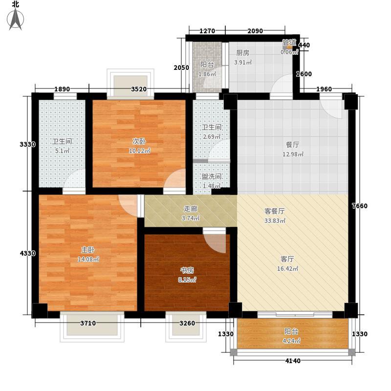 北湖印象111.79㎡E2型户型3室2厅2卫1厨