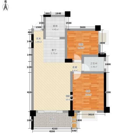 中江国际花城2室1厅1卫1厨90.00㎡户型图