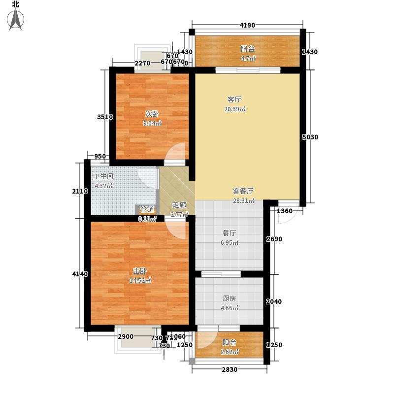 北湖印象84.45㎡二期E型户型2室2厅1卫1厨
