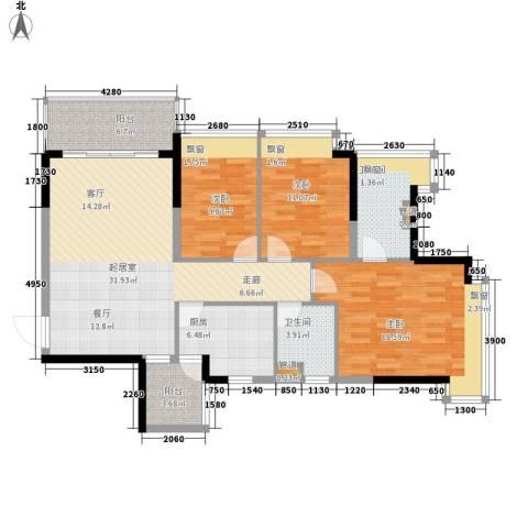 长沙恒大城3室0厅2卫1厨111.00㎡户型图