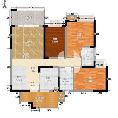 新港国际花园3室1厅2卫1厨122.00㎡户型图