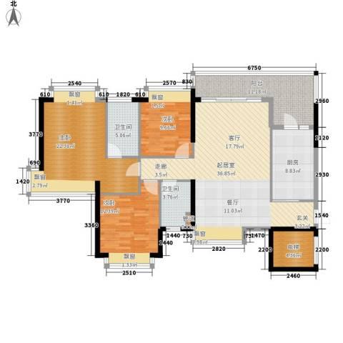 长沙恒大城3室0厅2卫1厨129.00㎡户型图