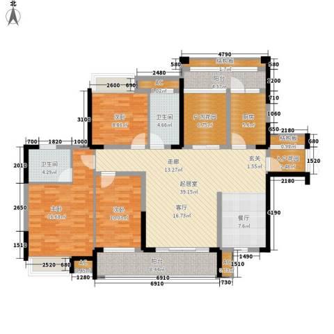 融科东南海二期3室0厅2卫1厨137.00㎡户型图
