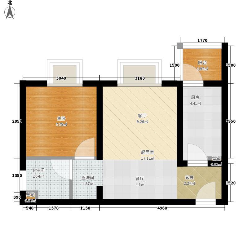 北湖印象46.91㎡D1型户型1室2厅1卫1厨