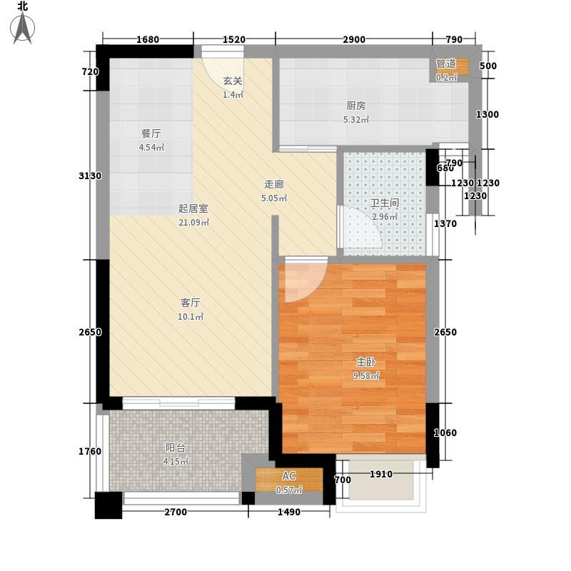 融科东南海二期59.00㎡北海5栋A户型1室2厅1卫1厨