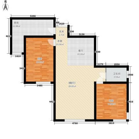 紫郡长安2室1厅1卫1厨108.00㎡户型图