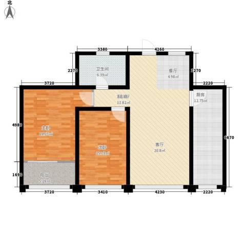 东方明珠广场2室1厅1卫1厨108.00㎡户型图