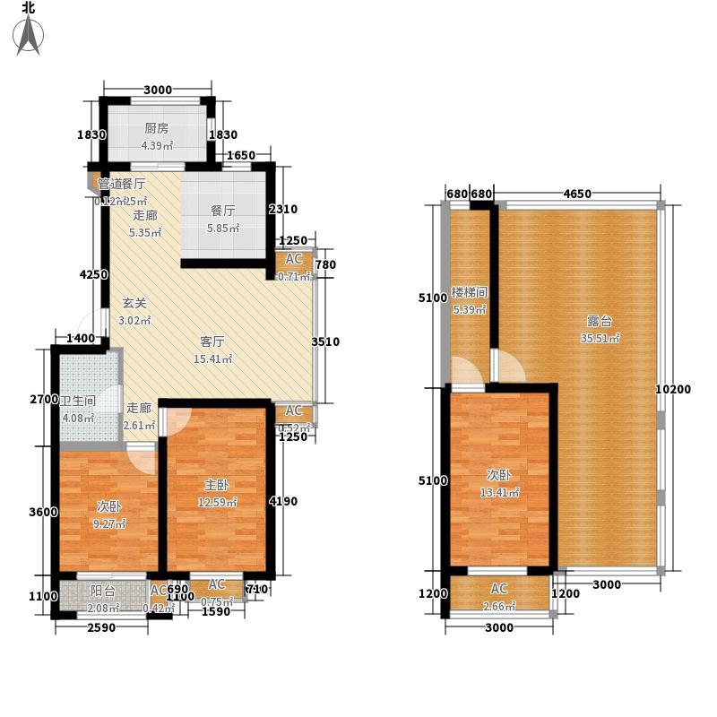 筑石居易一期A户型2室2厅1卫1厨