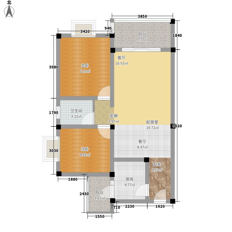 北湖印象78.90㎡A-1户型2室2厅1卫1厨