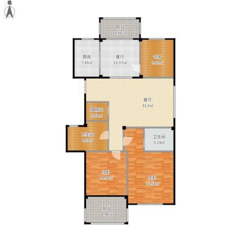曙光之城3室2厅2卫1厨174.00㎡户型图