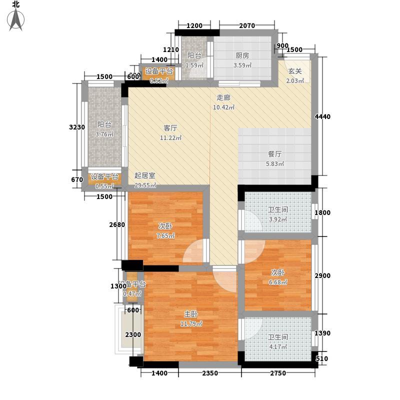 北大资源燕楠国际88.00㎡一期5号楼标准层A3-3户型3室2厅2卫1厨