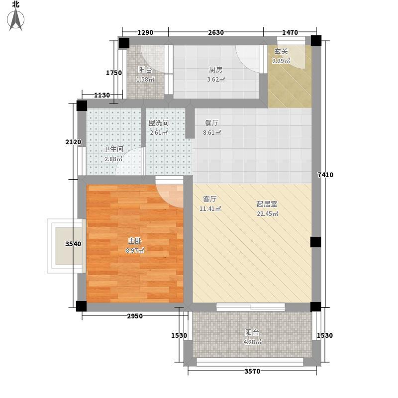 北湖印象54.54㎡B-3户型1室1厅1卫1厨