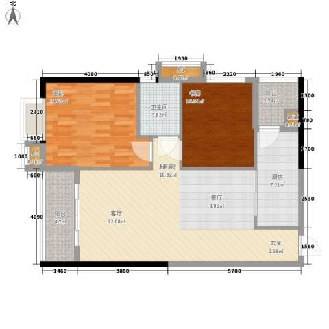 珠光高派2室0厅1卫1厨89.00㎡户型图