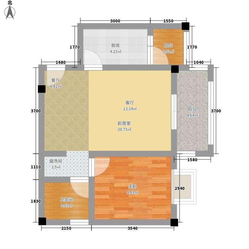 北湖印象52.50㎡B-4户型1室1厅1卫