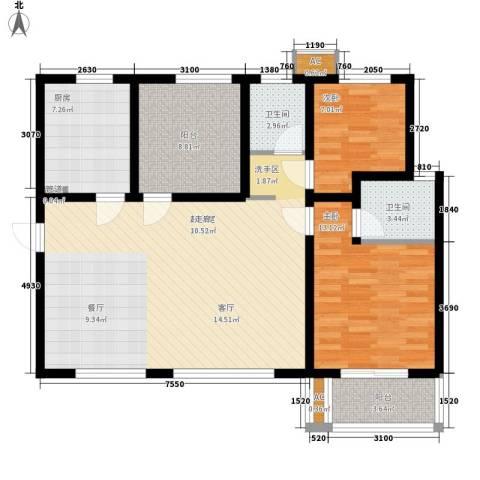 嘉园蓝湖九郡2室0厅2卫1厨120.00㎡户型图