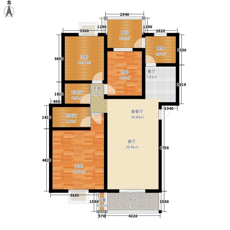 北湖印象118.24㎡C1型户型3室2厅2卫1厨
