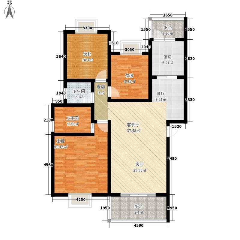 北湖印象116.51㎡3期D型户型3室2厅2卫1厨