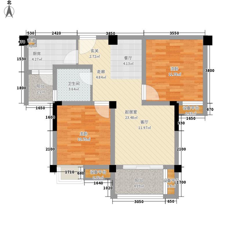 远大林语城南庭78.61㎡一期62号楼标准层B2户型2室2厅1卫1厨