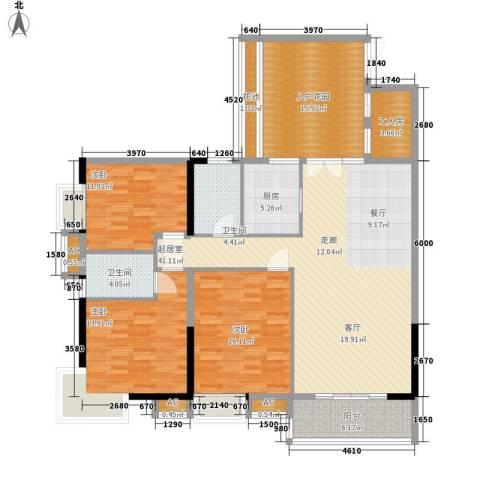 珠光高派3室0厅2卫1厨143.00㎡户型图