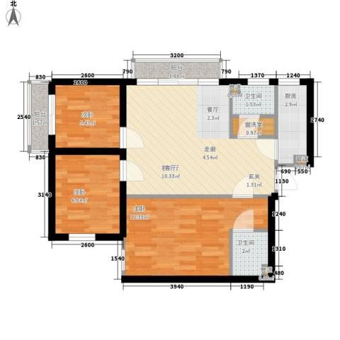 东丽温泉家园3室1厅2卫1厨79.00㎡户型图