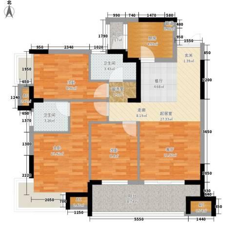 融科东南海二期3室0厅2卫1厨104.00㎡户型图