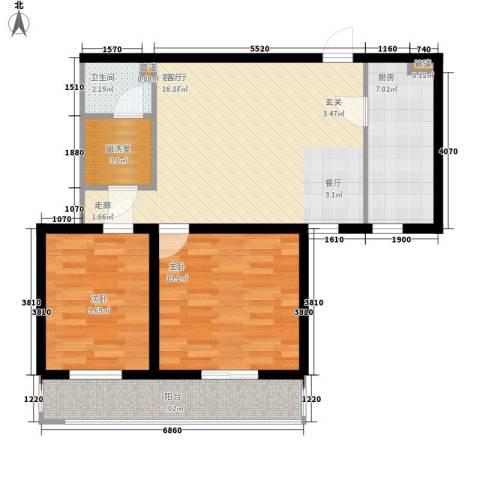 东丽温泉家园2室1厅1卫1厨95.00㎡户型图