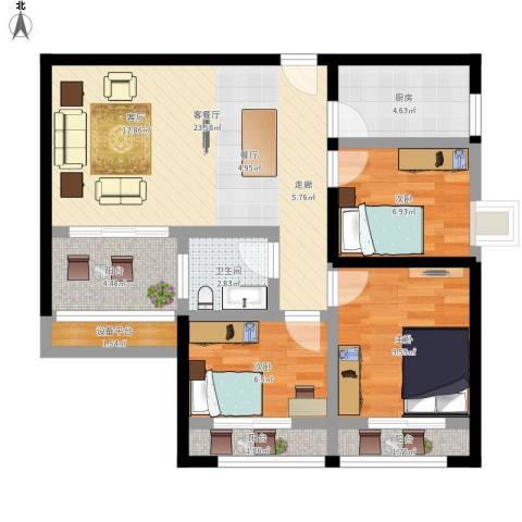 海韵园3室1厅1卫1厨96.00㎡户型图