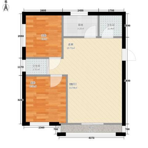 东丽温泉家园2室1厅2卫1厨66.00㎡户型图