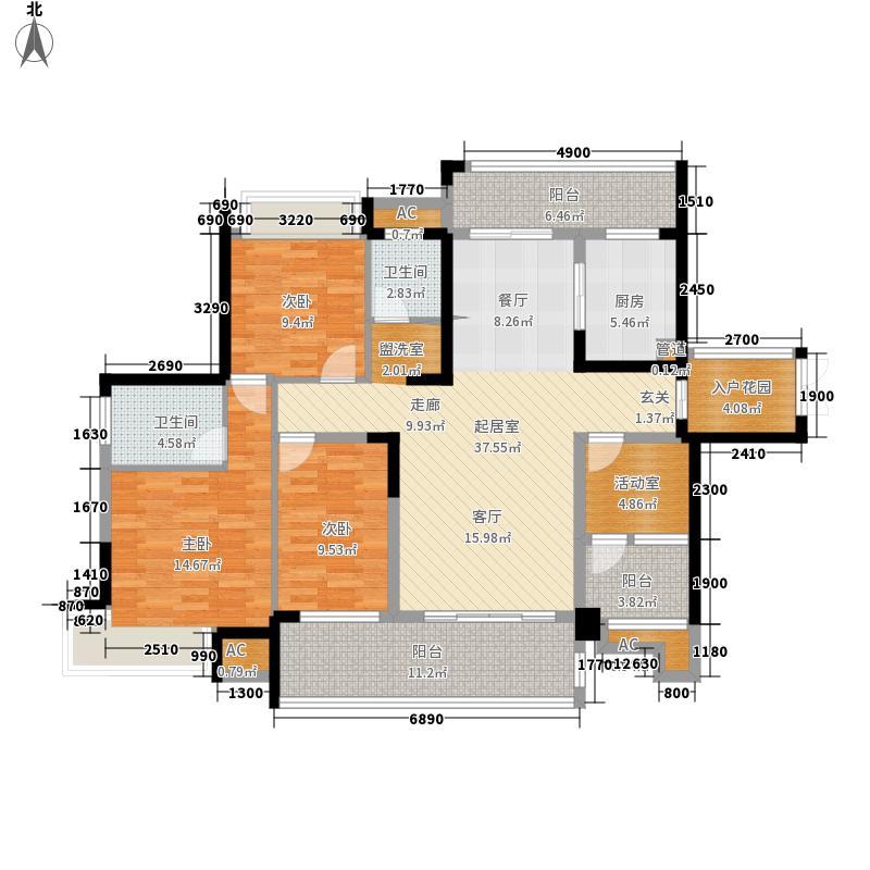 融科东南海二期142.00㎡北海C6户型3室2厅2卫1厨