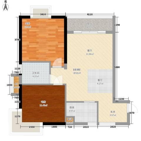 珠光高派2室0厅1卫1厨75.00㎡户型图