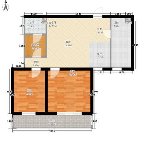 东丽温泉家园2室1厅1卫1厨67.75㎡户型图
