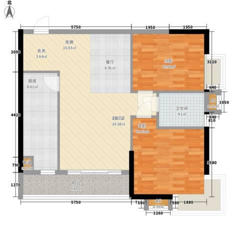 珠光高派2室0厅1卫1厨84.00㎡户型图