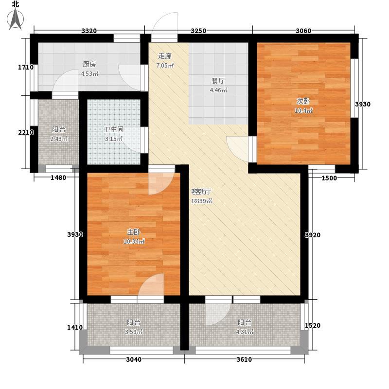百合公馆87.50㎡D2户型2室2厅1卫1厨