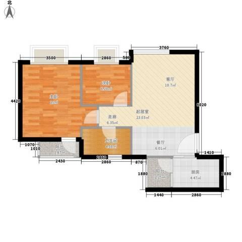 嘉仕花园上领2室0厅1卫1厨63.00㎡户型图