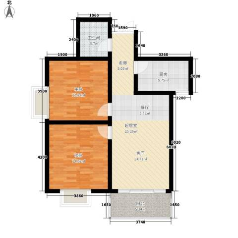 黄河东区2室0厅1卫1厨93.00㎡户型图